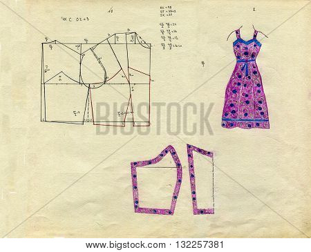 Hand drawn real vintage fashion pencil pattern of sundress - 1950s Style