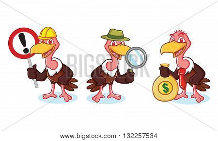 Vulture Mascot Vector with money sign and magnifying glass