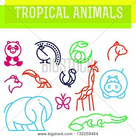 Vector flat simple minimalistic tropical animal logo. Animal icon, animal sign, symbol isolated on white background. Nature park, national zoo, pet shop logo, animal food store logo.