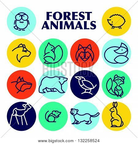 Vector flat simple minimalistic forest animal logo. Animal icon, animal sign, symbol isolated on white background. Nature park, national zoo, pet shop logo, animal food store logo.