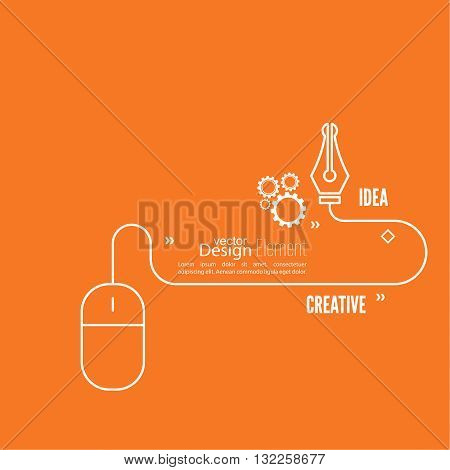 Bulb light idea. concept of  inspiration innovation, invention, connection and operation engineering, teamwork, breakthrough. Line art. Pen and nib, gear. Web design