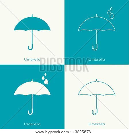 Umbrella sign icon. Rain protection symbol. Concept of protection and security, the rainy season. Spring, autumn, natural phenomena. vector. flat design. minimal. outline.