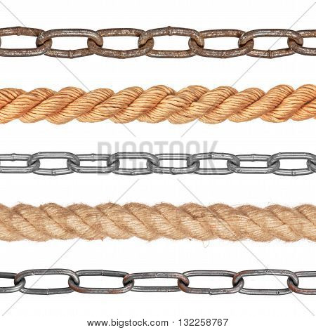 collection chain and rope isolated on white background