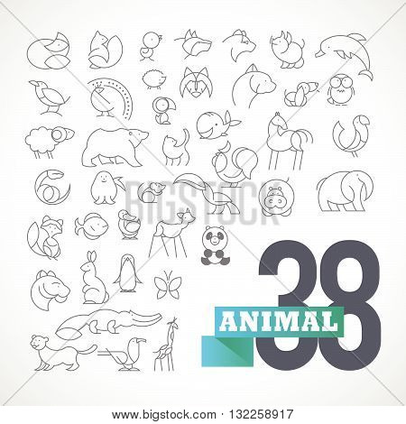 Vector flat simple minimalistic animal logo set. Animal, bird icon, mammal animal sign, symbol isolated on white background. Nature park, national zoo, pet shop logo, animal food store logo.
