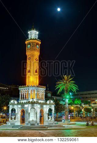 Izmir Clock Tower under the moonlight, Turkey