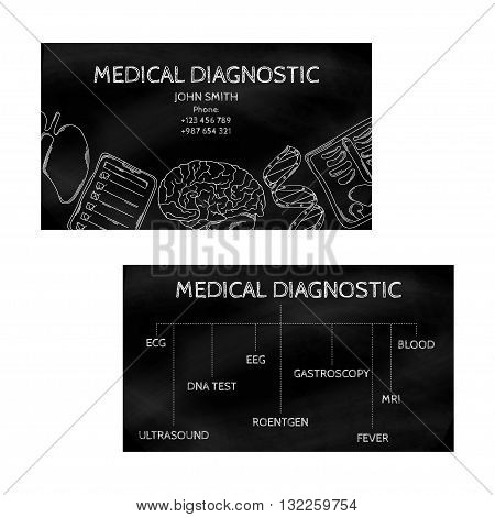 Template professional business cards black for printing in the printing industry isolated on white background. Medical laboratory clinic diagnosis. Vector illustration