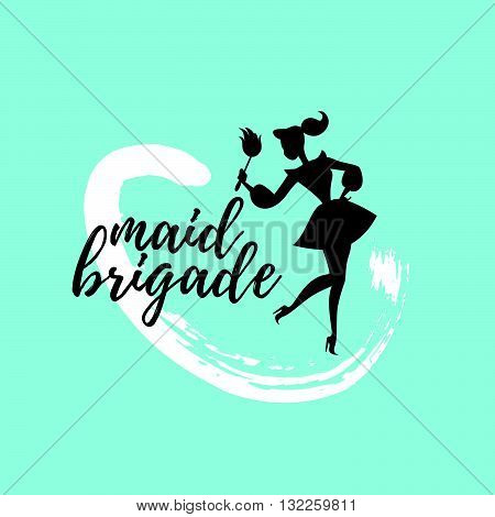 Vector logo for cleaning company. Flat cleaning service insignia. Simple cleaning logo icon isolated on blue background. Cheerful Cinderella icon. Hand written font.