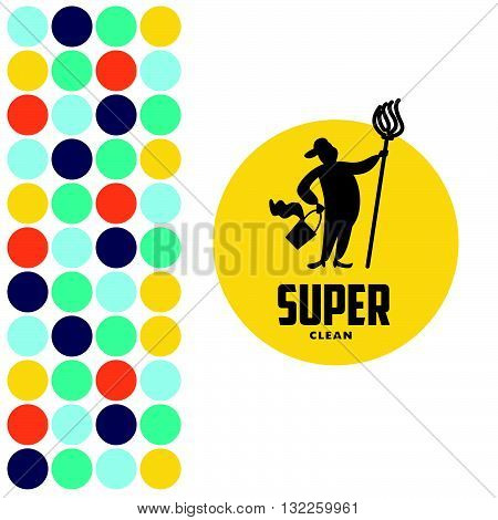 Vector logo for cleaning company. Flat cleaning service insignia. Simple cleaning logo with man silhouette icon isolated on white background.