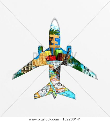 Concept travel around the world trips. View through an airplane window. 3d illustration