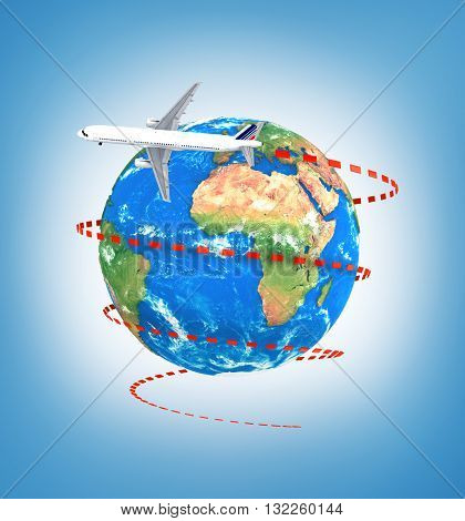 Concept of travel around earth. Plane with visual trajectory around earth on a blue background. 3d illustration
