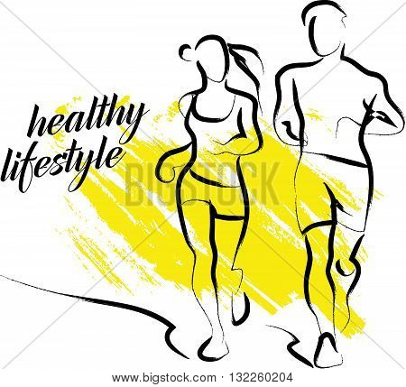 Vector hand drawn fitness people sketch. Athlete figure isolated on white background. Human icon. Man, woman sport portrait. Healthy lifestyle. Ink drawing. Running, jogging. Sport advertising.