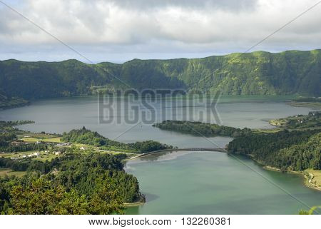 Lake of Sete Cidades from Vista do Rei viewpoint in Sao Miguel, Azores, Portugal