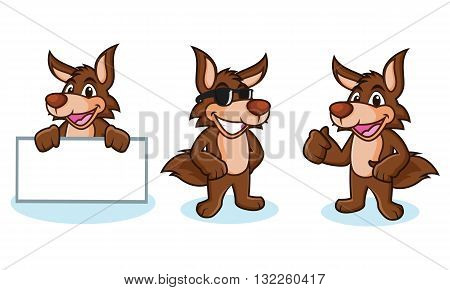 Coyote Mascot Vector happy pose and bring board