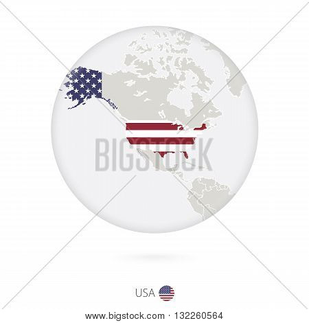 Map Of Usa And National Flag In A Circle.