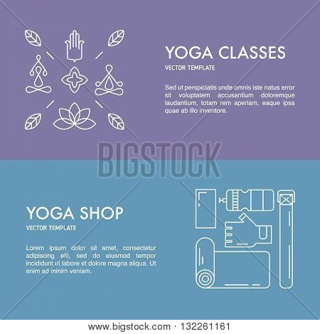 Template for yoga studio classes. Flayer for yoga gear shop.