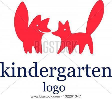 Vector simple flat kid logo. Baby, child company goods, toys shop, store. Two red fox icon, animal character. Big tail, cute animal. Kindergarten logo isolated on white background. Dog couple friendly