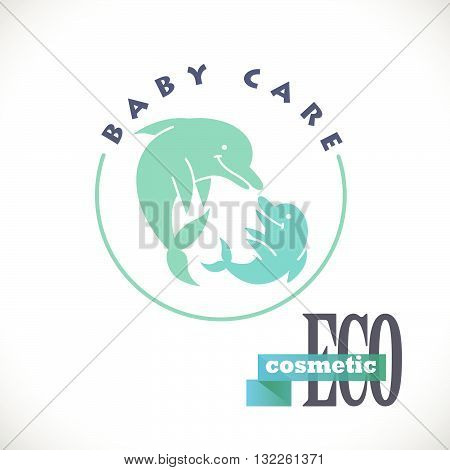 Vector simple flat kid logo. Baby, child company goods, toys shop, store. Children icon, fish cute smiling character. Dolphin green couple. Eco cosmetic logo, baby care isolated on white background.