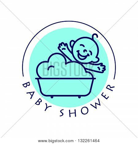 Vector simple flat kid logo. Baby, child company goods, toys shop, store. Human icon. Children icon, baby character. Happy kid sitting in the bath isolated on white background. Baby shower logo, baby care cosmetic.