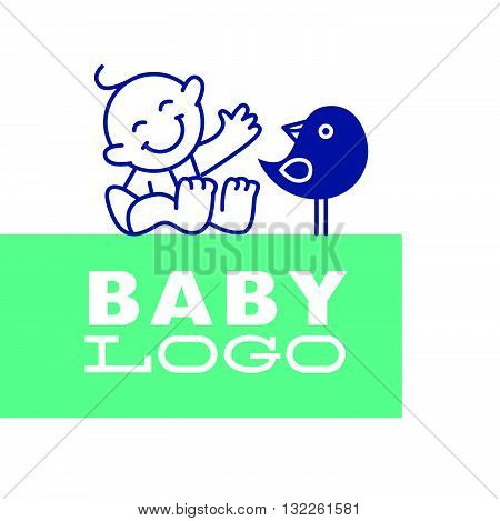 Vector simple flat kid logo. Baby, child company goods, toys shop, store, sweet shop, candy bar logo. Human icon. Children icon, sparrow bird character. Happy kid sitting isolated on white background.
