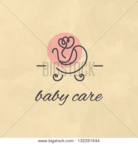 Vector simple flat kid logo. Baby, child company goods, toys shop, store, sweet shop, candy bar logo. Stroller icon, pink flower icon isolated. Paper texture. Baby care logo.