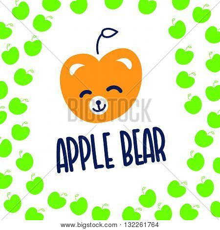 Vector simple flat kid logo. Baby, child company goods, toys shop, store, sweet shop, candy bar logo. Teddy bear icon. Apple icon, animal character. Smiling bear isolated on white background. Flat apple pattern.