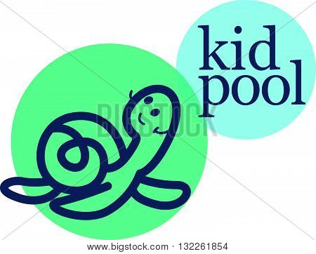 Vector simple flat kid logo. Baby, child company goods, toys shop, store, sweet shop, candy bar logo. Friendly smiling little turtle icon. Animal character. Swimming pool for kids logo, insignia isolated on white background.