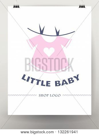 Vector simple flat kid logo. Baby, child company goods, toys shop, store, sweet shop, candy bar logo. Human little girl pink dress icon. Flat simple card, poster, advertising, banner collection.