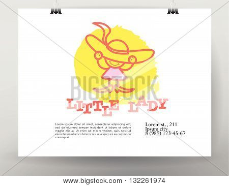 Vector simple flat kid logo. Baby, child company goods, toys store, sweet shop, candy bar logo. Human icon. Children icon. Card, poster, advertising, banner collection. Little girl in big hat and shoe