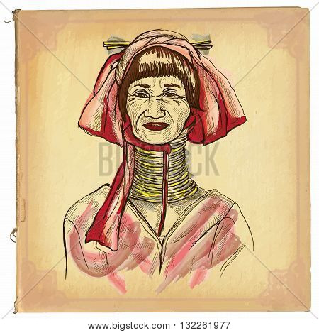 An hand drawn retro vector illustration colored line art. THAILAND WOMAN. Freehand sketch of long neck thailand middle aged woman.Hand drawings are editable.Background is isolated.Vintage processing.