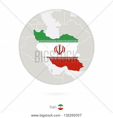 Map Of Iran And National Flag In A Circle.