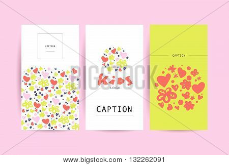 Vector simple flat kid logo. Baby, child company goods, toys shop, store, sweet shop, candy bar logo. Floral hand drawn pattern. Flower, heart icon. Flat simple card, poster, advertising, banner collection.