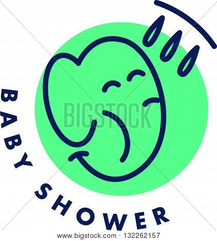 Vector simple flat kid logo. Baby, child company goods, toys shop, store. Smiling elephant icon. Shower icon isolated on white background. Animal portrait, elephant head. Water drops.