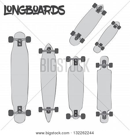 Cartoon longboards of different sizes and kinds isolated on white background, vector illustration