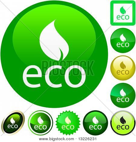 Set of eco buttons. Vector collection.