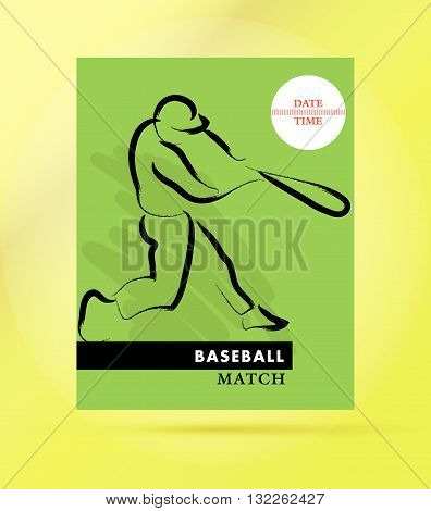 Vector hand drawn sportsman silhouette. Baseball player team. Flat sport advertising design template. Placard, poster, banner, leaflet, card. Human figure.