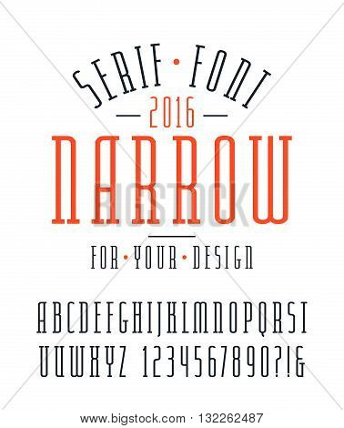 Narrow serif font and numbers. Medium face. Isolated font on white background
