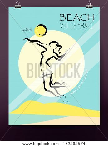 Vector hand drawn sportsman silhouette. Volleyball girl player. Flat sport advertising design template. Placard, poster, banner, leaflet, card. Human figure.