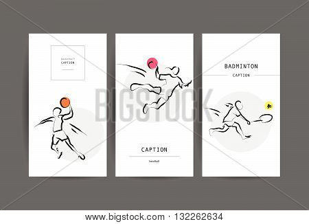 Vector hand drawn sportsman silhouette. Flat sport advertising design template collection. Basketball, handball, badminton. Placard, poster, banner, leaflet, card. Human figure.