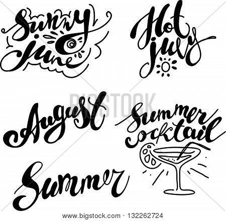 Hand drawn summer card. Letternig, text message isolated on white background. Hand written font, abc. Ink drawing. Collection of summer greeting.