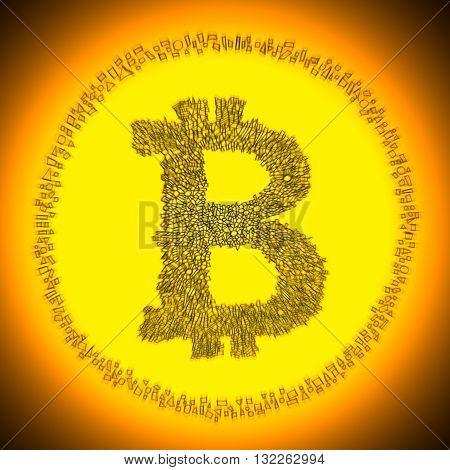 Golden Bitcoin Crypto Currency Coin Logo