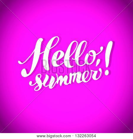 Hand drawn summer card. Letternig, text message isolated on pink background background. Hand written font, abc. Ink drawing. Summer card.