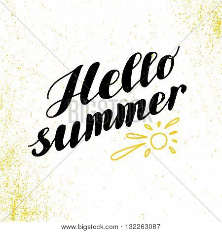 Hand drawn summer card. Letternig, text message isolated on white background. Hand written font, abc. Ink drawing. Summer greeting card.