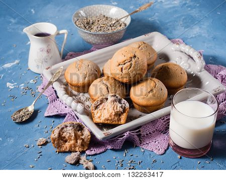 Lavender muffins with ingredients - lavender syrup milk and lavender flowers on blue textured background