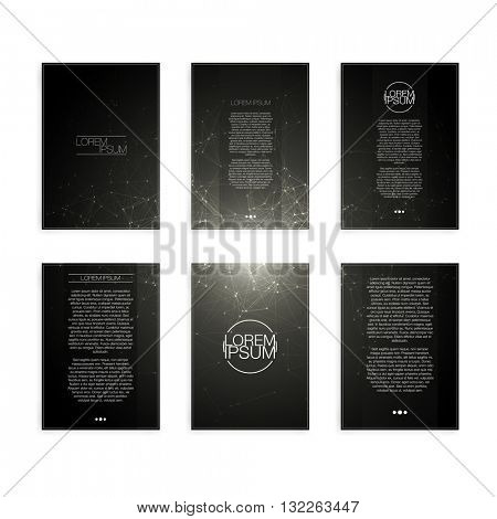 Set of Black and White Abstract Mesh Modern Flyers - EPS10 Brochure Design Templates