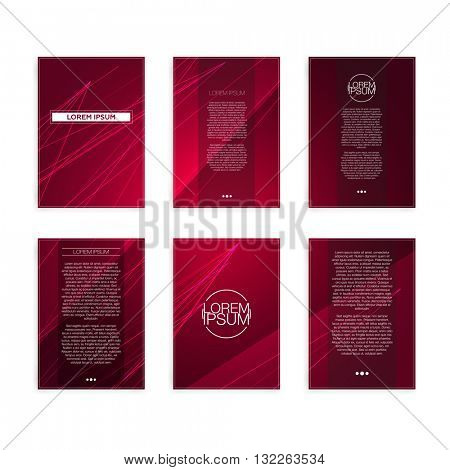 Set of Red Abstract Geometric Line Modern Flyers - EPS10 Brochure Design Templates