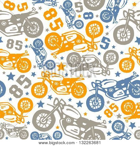 Seamless pattern with motorcycles drawings. Design for your textiles backgrounds wrapping paper. Color print on a white background