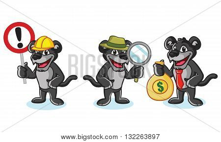 Panther Mascot Vector with money sign and magnifying