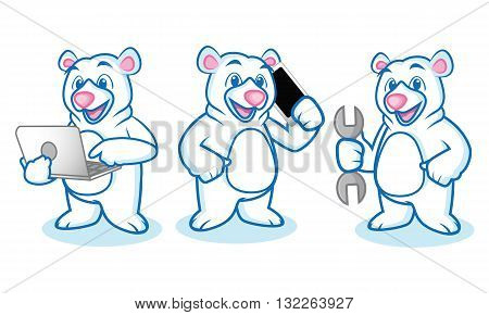 Polar Bear Mascot with laptop phone and tools