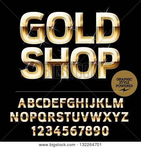 Royal golden set of alphabet letters, numbers and punctuation symbols. Vector  elite logo with text Gold shop