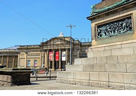 LIVERPOOL, UK - JUNE 11, 2015 - Walker Art Gallery and the base of Waterloo Memorial Liverpool Merseyside England UK Western Europe, June 11, 2015.